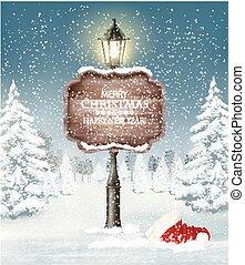 kväll, vinter, vektor, lamppost., jul, landskap