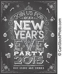 kvæld, nye år, chalkboard, invitation, gilde