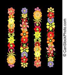 květ, design, dát, udělal, od, dary