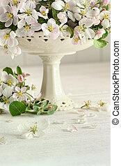 květ, květiny, jablko, váza