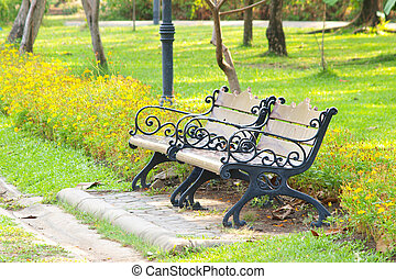 květ, park lavice
