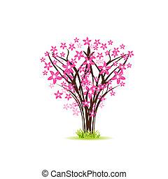 květ, třešeň, -, pohled
