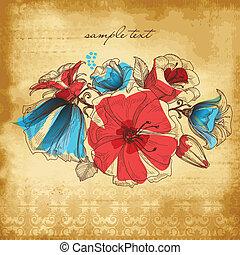 květ, vinobraní, ilustrace, výzdoba, grafické pozadí, vektor