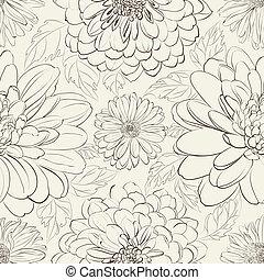květinový, chryzantéma, seamless