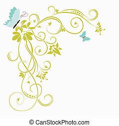 květinový, grafické pozadí, s, motýl