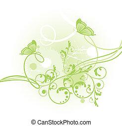 květinový, karta, s, motýl