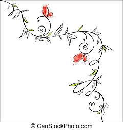 květinový, motýl, design