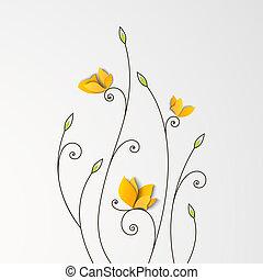 květinový, motýl, noviny, grafické pozadí