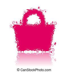květinový, nákupní taška, silhouette., chápat, rovněž,...