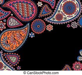 květinový, paisley, indi, grafické pozadí