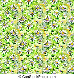 květinový, seamless, tkanivo, o, barva vodová