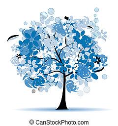 květinový, strom, překrásný