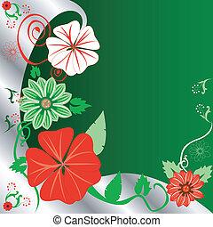 květinový, vánoce, grafické pozadí
