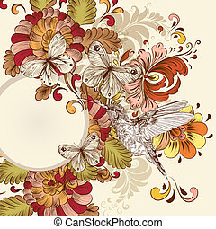 květinový, vektor, design, s, točit se, pralátka, motýl, a, ptáček