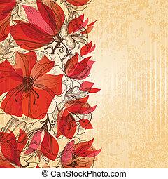 květinový, vinobraní, grafické pozadí, tkanivo, lepenka