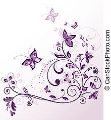 květinový, vinobraní, karta, fialový