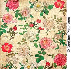 květinový, vinobraní, tapeta, grafické pozadí