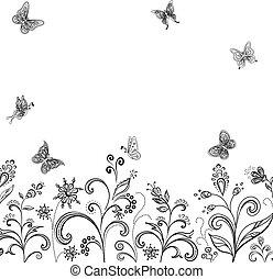 květiny, a, motýl, kontura