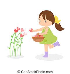 květiny, děvče, vybírání, nitro