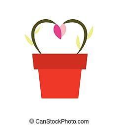 květiny, do, jeden, hrnec, ikona
