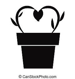 květiny, do, jeden, hrnec, jednoduchý, ikona