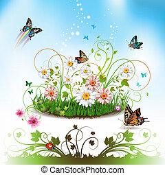 květiny, do, ta, pastvina