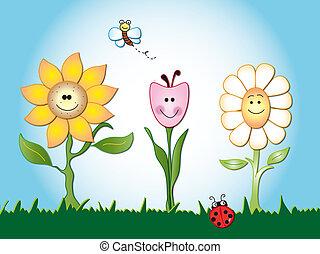 květiny, karikatura