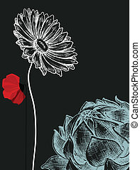 květiny, nad, tajnůstkářský background, pozvání