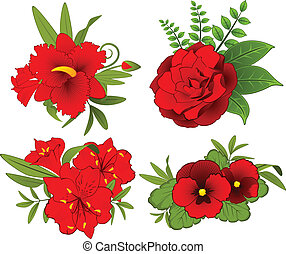 květiny, oproti grafické pozadí