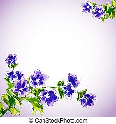 květiny, pramen, pozvání, šablona