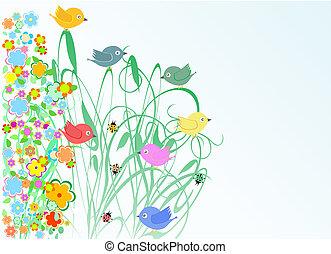 květiny, ptáček, pozdrav, prázdniny