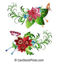 květiny, uspořádání, a, motýl