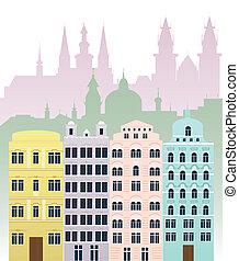 KV buildings - Vector illustration of European buildings and...