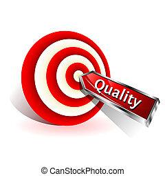 kvalitet, concept., rød, dart, finder, en, target., vektor,...