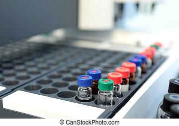 kvalitet kontrol, laboratorium, medicine., chromatograph,...