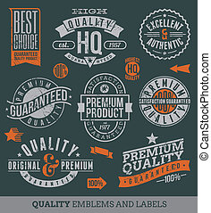 kvalitet, och, guaranteed, etiketter