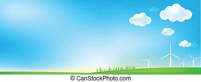 kvarn, gräs, sky, linda, bakgrund