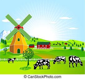 kvarn, lantbruk, linda
