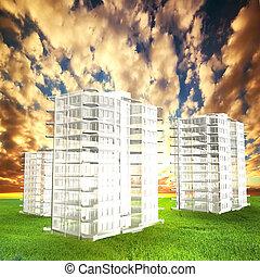 kvarter, projekt, fält, solnedgång, färsk, lägenheterna