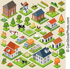 kvarter, vektor, isolated., leksak, set., karta, illustration, lantgård, elements., isometric