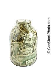 kvav, glas, hundreds, dollars, kruka