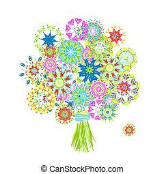 kvetoucí, kytice, udělal, od, květinový, arabeska