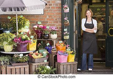kvinde, arbejde hos, blomst shop, smil