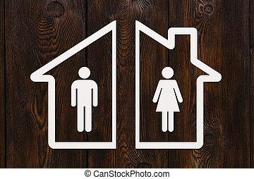 kvinde, begreb, hus, inderside., avis, skille, mand