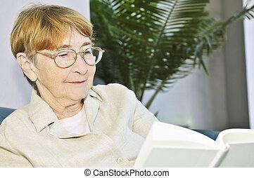 kvinde, bog, gamle, læsning