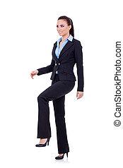 kvinde branche, træde på, indbildt, foranstaltning