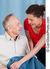 kvinde, caring, omkring, mand disabled