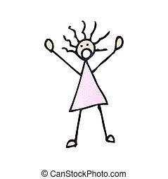 kvinde, cartoon, pind