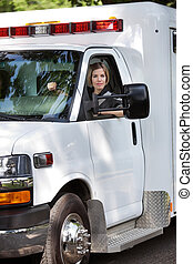 kvinde, chauffør, ambulance