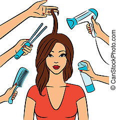 kvinde, coiffure